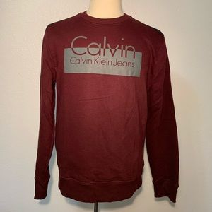 Maroon Calvin Klein Crew Neck w/ Black Shoulder